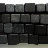 16 Inch Natural Black Stone 10mm Cube Beads